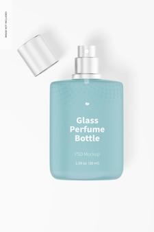 Mockup voor glazen parfumflesjes van 50 ml, bovenaanzicht