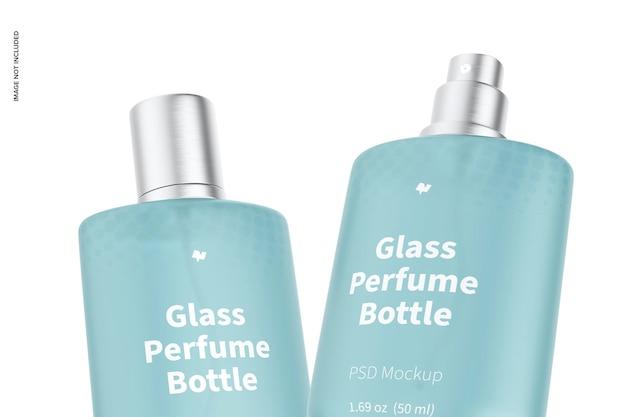 Mockup voor glazen parfumflesjes van 50 ml, close-up