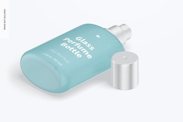 Mockup voor glazen parfumflesjes van 50 ml, isometrisch rechts aanzicht