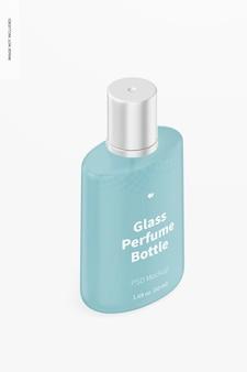Mockup voor glazen parfumflesjes van 50 ml, isometrische weergave