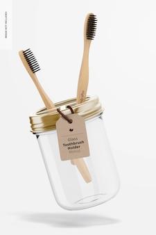 Mockup voor glazen tandenborstelhouder, drijvend