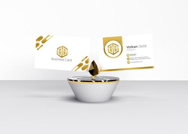 Mockup voor gouden diamanten gouden visitekaartje
