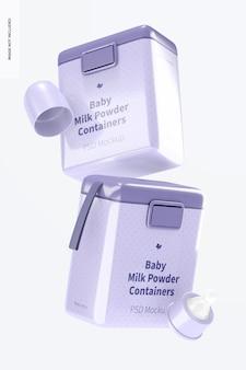 Mockup voor grote babymelkpoedercontainers, vallend