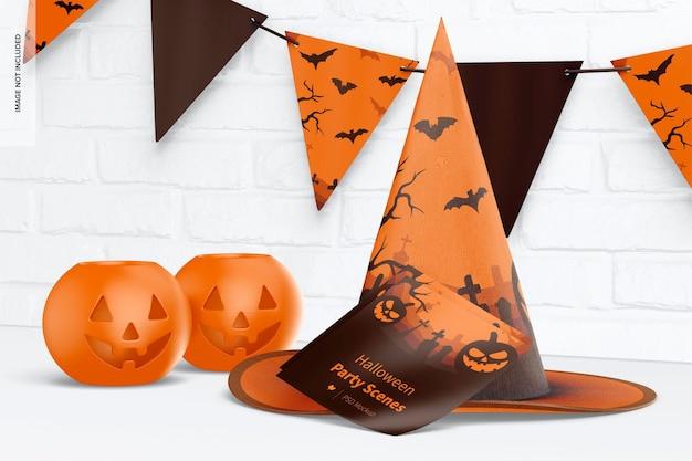 Mockup voor halloween-feestscène, vooraanzicht