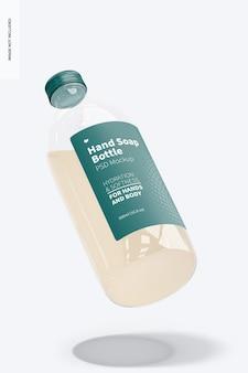 Mockup voor handzeep doorzichtige fles, drijvend