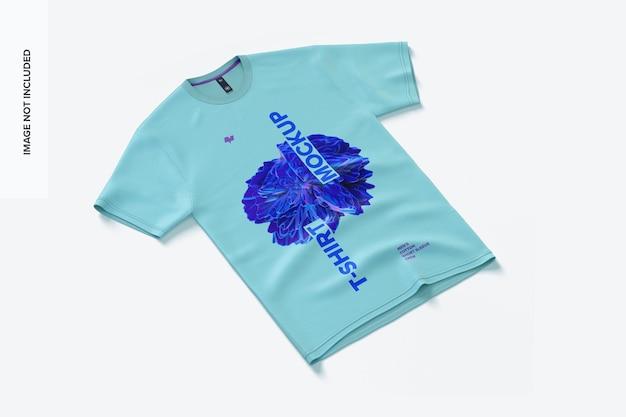 Mockup voor heren, katoenen t-shirt met korte mouwen en ronde hals