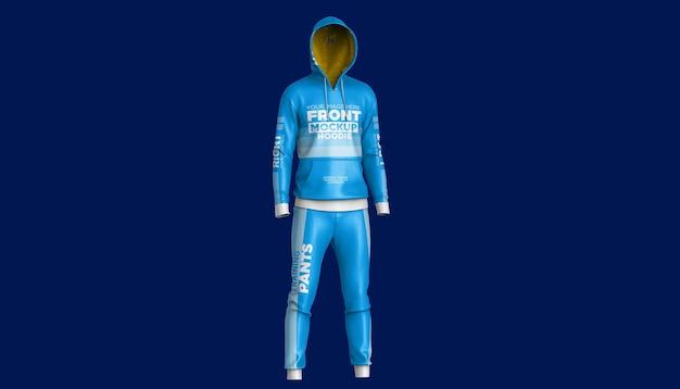 Mockup voor heren sportkleding hoodie en broek