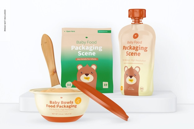 Mockup voor het verpakken van babyvoeding