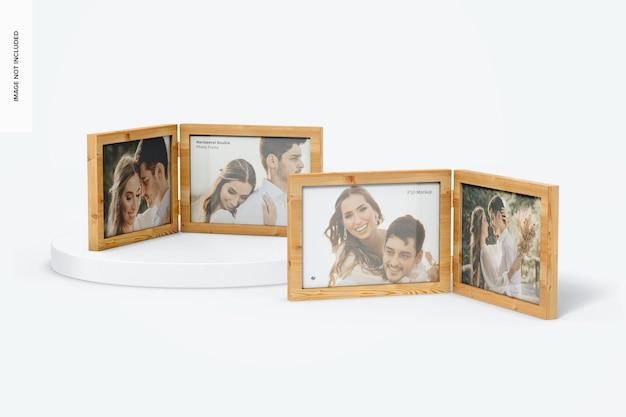Mockup voor horizontale dubbele fotolijsten Premium Psd