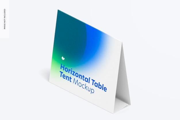 Mockup voor horizontale tafeltentkaart, isometrische linkerweergave