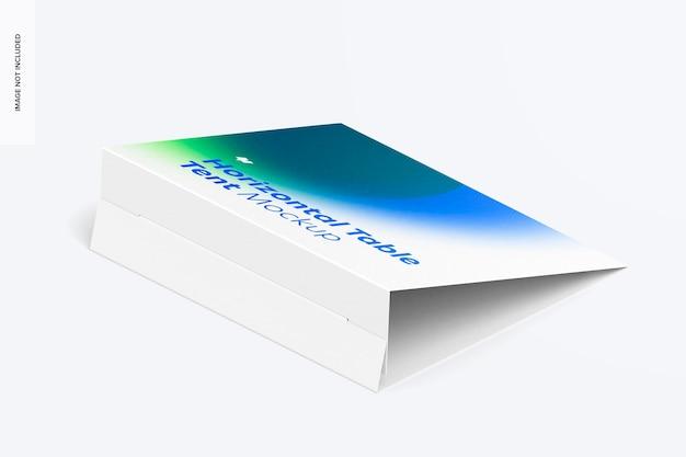 Mockup voor horizontale tafeltentkaart, isometrische weergave