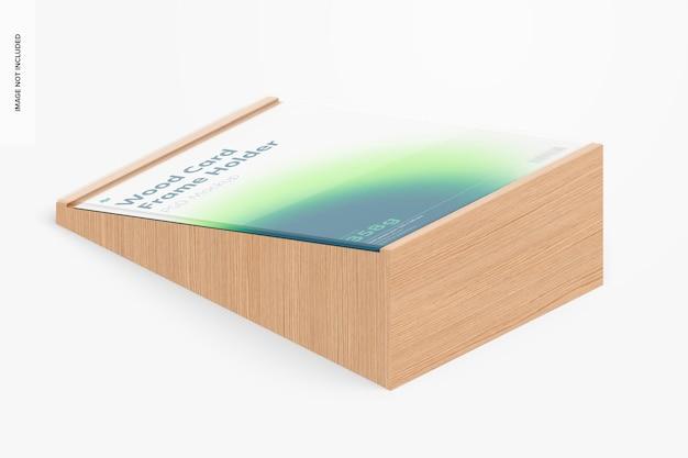 Mockup voor houten kaartframehouder, isometrische weergave
