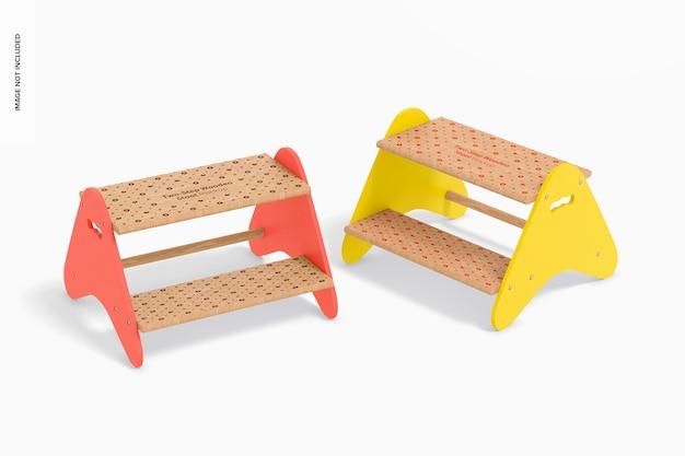 Mockup voor houten krukken in twee stappen