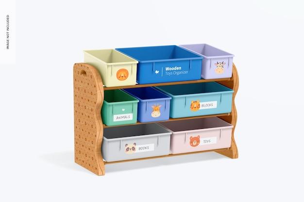 Mockup voor houten speelgoedorganizer