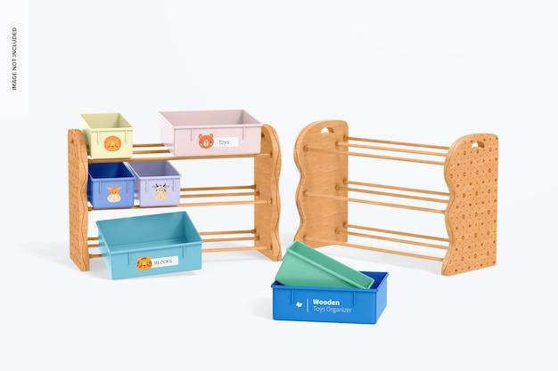 Mockup voor houten speelgoedorganizers