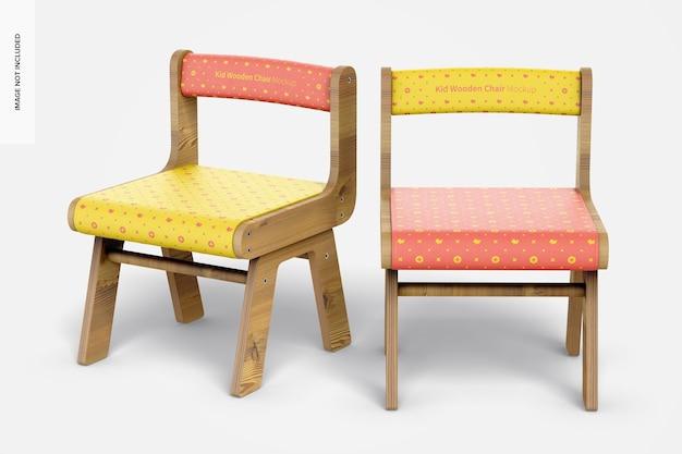 Mockup voor houten stoelen voor kinderen
