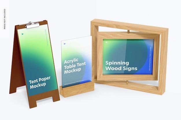 Mockup voor houten tafeltentscène