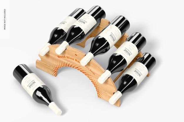 Mockup voor houten wijnrek, bovenaanzicht