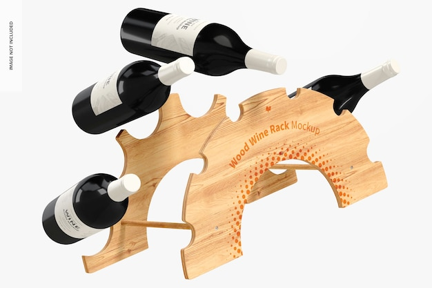 Mockup voor houten wijnrek, drijvend