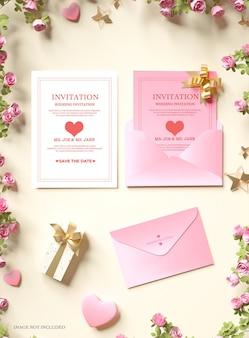 Mockup voor huwelijksuitnodiging
