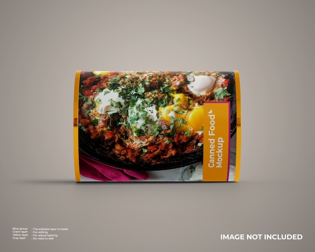 Mockup voor ingeblikt voedsel op horizontale positie