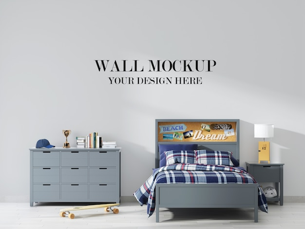 Mockup voor jongensslaapkamer met grijze meubels