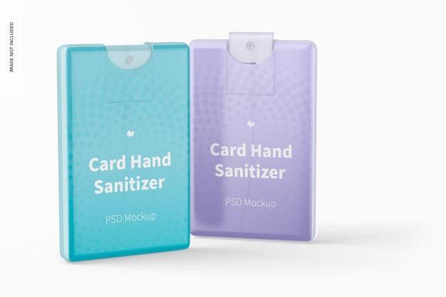 Mockup voor kaarthanddesinfecterend middel, perspectiefweergave