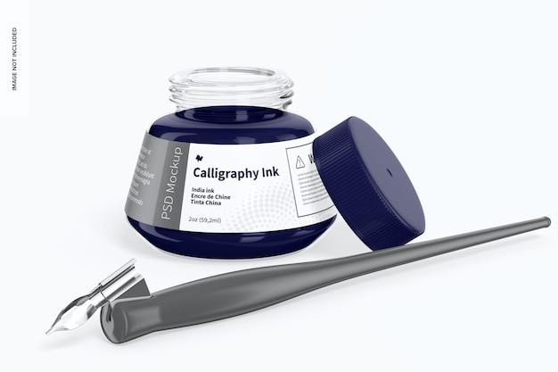 Mockup voor kalligrafie-inkt, geopend
