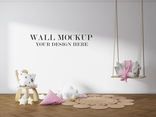 Mockup voor kinderkamer met lege muur