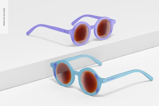 Mockup voor kinderzonnebrillen, perspectief