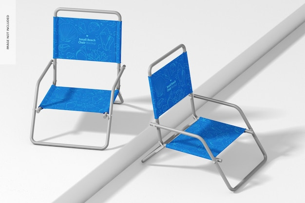 Mockup voor kleine strandstoelen, omhoog en omlaag