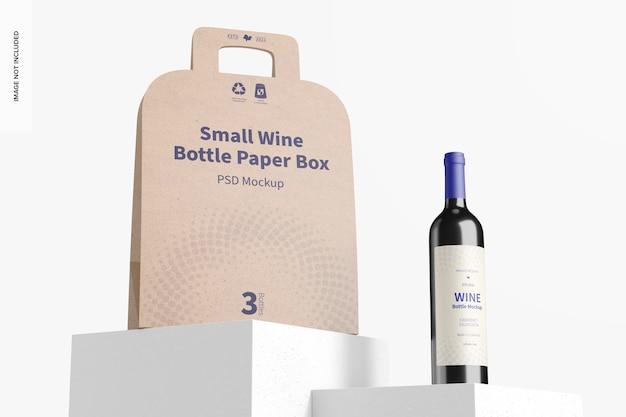 Mockup voor kleine wijnfles, papieren doos, lage hoekweergave Gratis Psd
