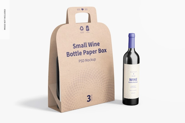 Mockup voor kleine wijnflessen, rechts aanzicht