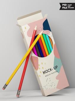 Mockup voor kleurpotloodverpakkingen