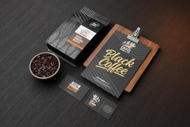 Mockup voor koffiebranding in zwart thema