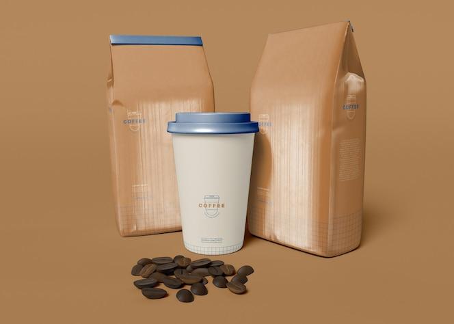mockup voor koffiekop en papieren zak om mee te nemen