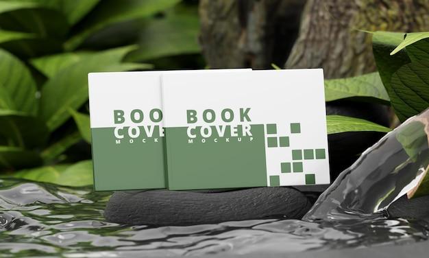 Mockup voor landschapsboekomslag met natuurconcept