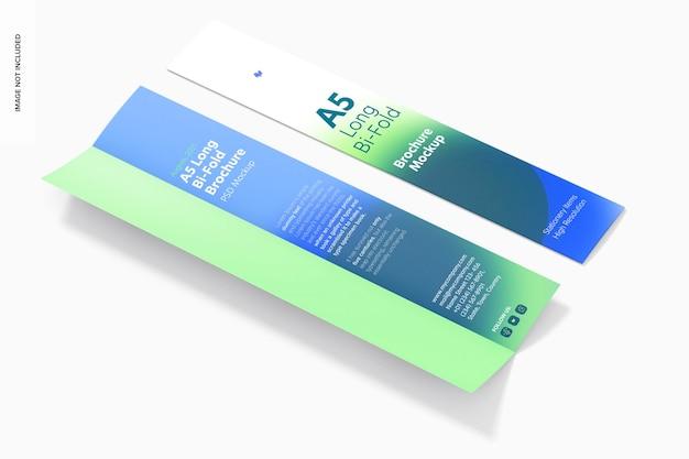Mockup voor lange, in tweeën gevouwen a5-brochures
