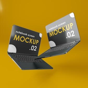 Mockup voor laptopscherm met zwaartekracht