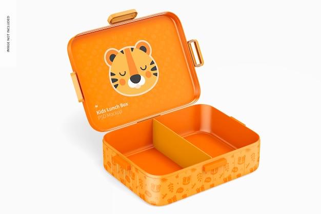 Mockup voor lunchbox voor kinderen, geopend