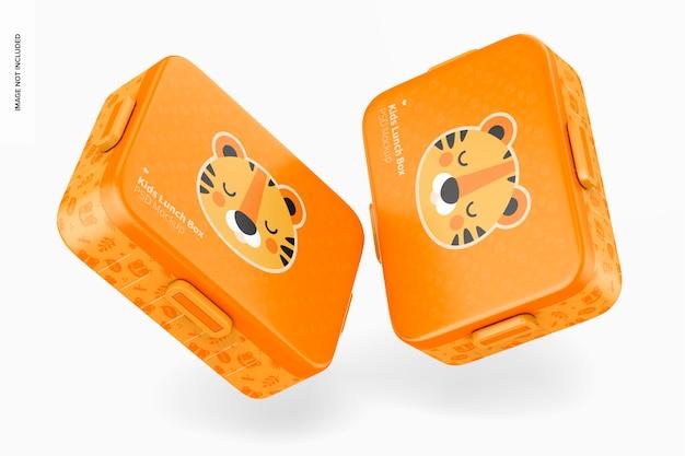 Mockup voor lunchboxen voor kinderen, vallend