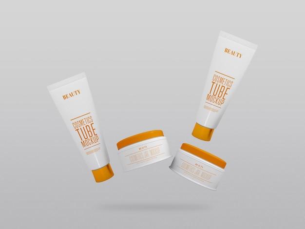 Mockup voor meerdere cosmetische crèmepotten en -buizen