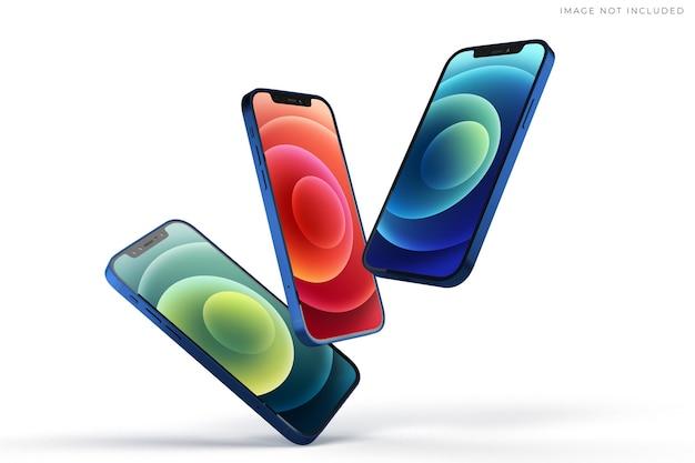 Mockup voor mobiele smartphones voor wereldwijde merkidentiteit