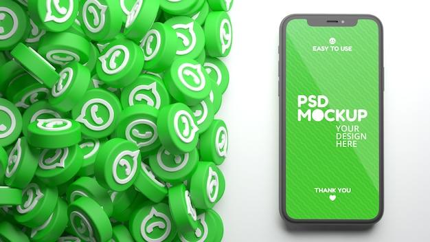 Mockup voor mobiele telefoon met een hoop whatsapp-pictogrammen in 3d-weergave