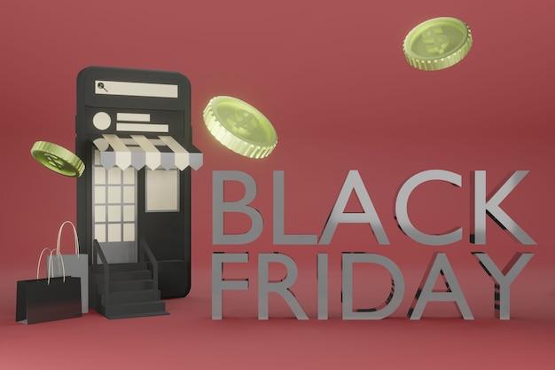 Mockup voor mobiele telefoons in 3d-weergave van online winkelen