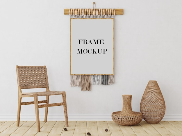 Mockup voor muurframe in tribale stijl met stoel
