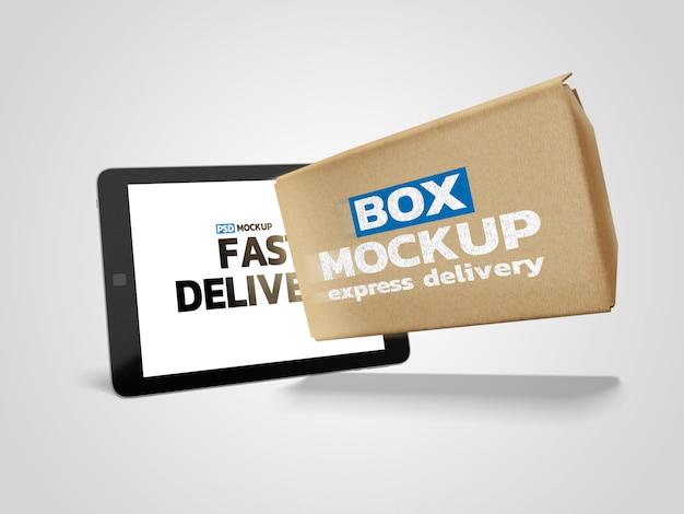 Mockup voor online bezorgbox met tablet