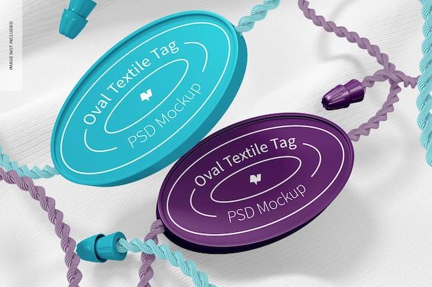 Mockup voor ovale textiellabels