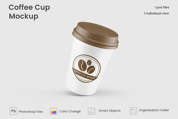 Mockup voor papieren koffiekopjes wegnemen