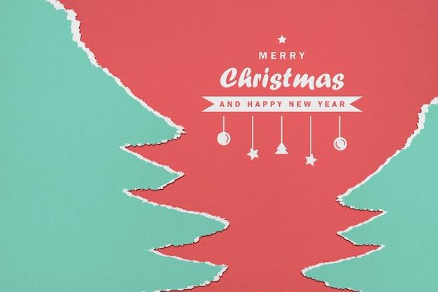 Mockup voor papieren prettige kerstdagen en gelukkig nieuwjaar